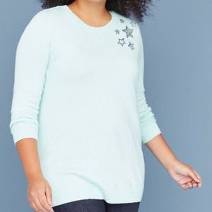 Lane Bryant sequin star graphic sweater New